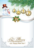 Merry Christmas and Happy New Year 2017. Christmas background with a snowman with Christmas balls Stock Image