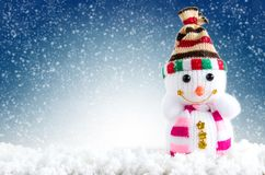 Merry christmas and happy new year background. Snowman standing. In winter background with copy space royalty free stock photos