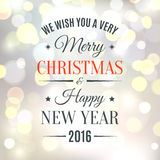 Merry Christmas and Happy New Year background. Merry Christmas and Happy New Year typographic text on blurred background. Bokeh circles. Greeting card template Stock Image