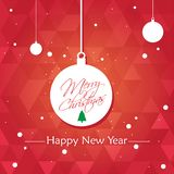 Merry Christmas And Happy New Year Background With Typography royalty free illustration