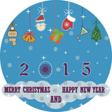 Merry Christmas and Happy New Year 2015 background Stock Image