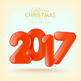 Merry Christmas and Happy New Year 2017 background Royalty Free Stock Image