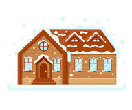 Merry Christmas and Happy New Year Background with Winter City Landscape with flat house and trees and decorations. Christmas in t. Own Stock Images