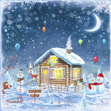 Merry Christmas and Happy new year background. Winter holidays landscape with Snowman  ,house and forest. Merry Christmas and Happy new year background Stock Photos