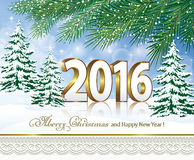 Merry Christmas and Happy New Year 2016 Royalty Free Stock Image