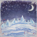Merry Christmas and Happy new year background. Winter night landscape. Merry Christmas and Happy new year background Royalty Free Stock Image