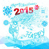 Merry Christmas,Happy New Year background. Winter vector template design with colored geometric snowflakes symbol of the year - the goat and geometric figures Royalty Free Illustration