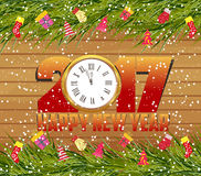 Merry christmas and happy new year 2017 background on wood.  Royalty Free Stock Photo
