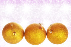 Merry Christmas and Happy New Year background with yellow balls Royalty Free Stock Images