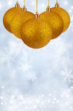 Merry Christmas and Happy New Year background with yellow balls Royalty Free Stock Photos