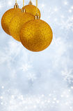 Merry Christmas and Happy New Year background with yellow balls Royalty Free Stock Image
