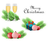 Merry Christmas and Happy New Year backgrounds. Realistic Christmas tree branch and accessories. Vector illustration Royalty Free Stock Photography