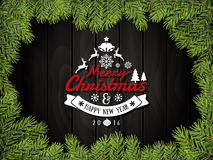 Merry Christmas and happy new year badge and background. With green leaves border. Vector illustration Stock Image