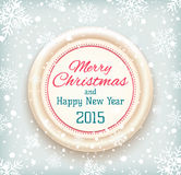 Merry Christmas and Happy New Year 2015 badge on. Winter snow background. Vector illustration Stock Image