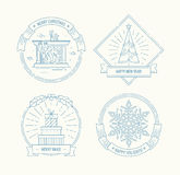 Merry Christmas and Happy New Year badges set. Stock Image
