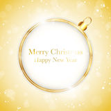 Merry Christmas Happy New Year Ball Golden Royalty Free Stock Photos