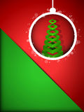 Merry Christmas Happy New Year Ball on Red Backgro Stock Photography