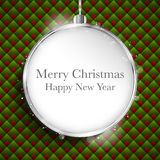Merry Christmas Happy New Year Ball Silver  on Geo Stock Photos