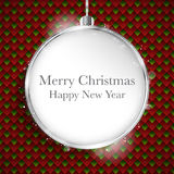 Merry Christmas Happy New Year Ball Silver  on Geometric Seamles Royalty Free Stock Photo