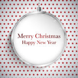 Merry Christmas Happy New Year Ball Silver  on Star Seamless Pat Royalty Free Stock Photo