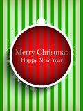 Merry Christmas Happy New Year Ball on Stripe Back Stock Image
