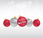 Merry christmas and happy new year with balls Stock Photography