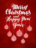 Merry Christmas and Happy New Year, banner. Beautiful greeting lettering decorated with decorative xmas decorations.  royalty free illustration