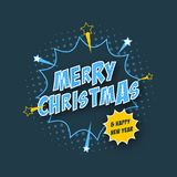 Merry Christmas and Happy New Year  banner with comic text effect, halftone effect and stars. Royalty Free Stock Photo