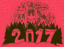 Merry Christmas and Happy New Year 2017 banner. Cute Santa Claus with big red bag on background snowflakes. Cartoon. Style. Concept design poster, greeting card Stock Images