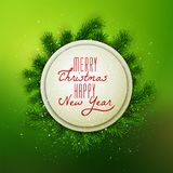 Merry Christmas and Happy New Year banner decorated. Merry Christmas and Happy New Year banner decorated with fir branches on show background, vector Stock Photography