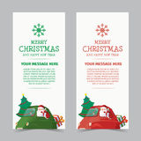 Merry Christmas and Happy New Year Banner Design. Merry Christmas and Happy New Year With Santa Drive Green Car Has Tree and Gift Banner Design Royalty Free Stock Photography