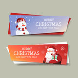 Merry Christmas and Happy New Year Banner Design. Merry Christmas and Happy New Year With Snowman and Santa Banner Design Stock Images