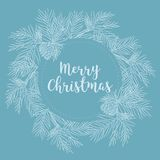 Merry Christmas and Happy New Year banner with fir branches,  illustration. Beautiful Christmas or winter design elements. Hand drawn retro pine branches Stock Photo