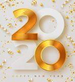 Merry Christmas and Happy new year 2020 banner with golden luxury numbers and serpentine. Gold Festive Numbers Design
