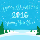 Merry Christmas and Happy New 2016 Year Banner Ice. Frozen Snow Vector Illustration Stock Photos