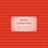 Merry Christmas and Happy New 2019 year banner, poster in knitted effect. Vector stock background. royalty free illustration
