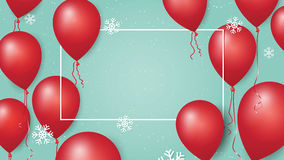 Merry Christmas and Happy New Year 2017 banner with red balloons and snowflakes on pastel background. Stock Image