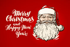 Merry Christmas and Happy New Year, banner. Santa Claus cartoon. Merry Christmas and Happy New Year, banner. Santa Claus Stock Photography
