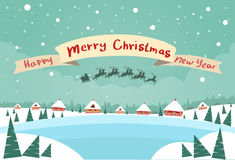 Merry Christmas and Happy New Year Banner Santa. Claus Sleigh Reindeer Fly Sky over House Christmas New Year Card Snow Flat Vector Illustration Stock Image