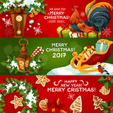 Merry Christmas and Happy New Year banner set. Christmas and New Year greeting banner. Gift, Christmas tree wreath with holly berry and ribbon, gingerbread Royalty Free Stock Images