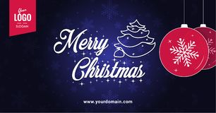 Merry Christmas blue greetings card wirh christmas balls. Merry Christmas and happy new Year banner template. Best for site or social media banner Stock Photography