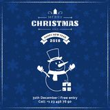Merry Christmas and Happy New Year greeting card, poster, banner. Snowman on dark snowflakes pattern background. Merry Christmas and happy new Year banner Royalty Free Stock Image
