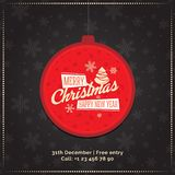 Red christmas ball with sign Merry Christmas and Happy New Year. Greeting card, banner. Merry Christmas and happy new Year banner template. Best for site or Royalty Free Stock Photography