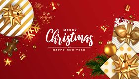 Holiday New year card - Merry Christmas on red background 5 vector illustration
