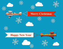 Merry christmas and happy new year banner. Vector modern flat concept design on flying merry christmas and happy new year banner pulled by light plane stock illustration