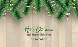 Merry Christmas and Happy New Year banner. Wooden  background with green branches, snow and confetti. Merry Christmas and Happy New Year banner. Wooden Royalty Free Stock Photos