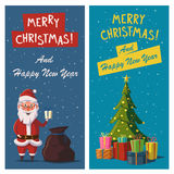 Merry Christmas and Happy New Year banners. Cartoon vector illustration. Christmas tree with gifts. Funny Santa Claus. Greeting cards. Vintage style vector illustration