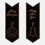 Merry Christmas and Happy New Year banners in retro style.  vector illustration