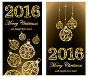 Merry Christmas and Happy New 2016 year banners Stock Photos