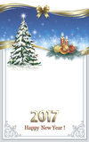 Merry Christmas and Happy New Year 2017. Beautiful Christmas card with Christmas tree and candles Stock Image